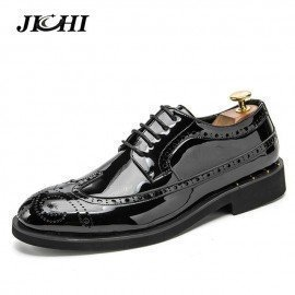 Men Leather Shoes Oxford Pu Leather MenS Dress Shoes Business Flat Shoes Breathable MenS Banquet Wedding Shoes 46 Jichi/hoodmat.com