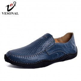 Summer Slip-On Comfortable Hole Genuine Leather Soft Men Shoes Loafers Male Moccasins Flats Casual Boat Driver Driving Vesonal/hoodmat.com