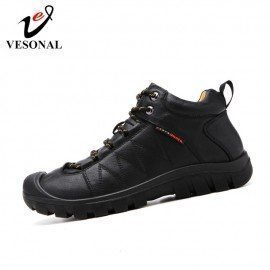 Comfortable Soft Outdoor Hiking Shoes Leather Slip On Male For Men Shoes Adult Simple Quality Footwear  Vesonal/hoodmat.com