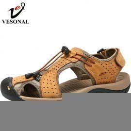Genuine Leather Summer Beach Male Shoes Adult For Men Sandals Casual Collision Avoidance Classic Water Walking Sandalias Vesonal/hoodmat.com