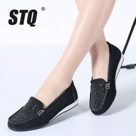 2019 Spring Women Ballet Flats Shoes Leather Suede Slip On Loafers Shoes Women Flat Shoes Moccasins Ballerines Flats K22 Stq/hoodmat.com