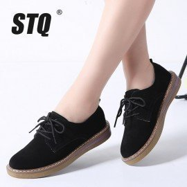 2019 Spring Women Flats Shoes Women Sneakers Leather Suede Lace Up Boat Shoes Round Toe Flats Moccasins Oxford For Women 989 Stq/hoodmat.com