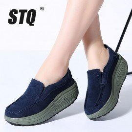 2019 Spring Women Flats Shoes Ladies Platform Sneakers Shoes Leather Suede Casual Slip On Flats Creepers Moccasins 2122 Stq/hoodmat.com