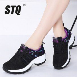 2019 Spring Women Flat Platform Sneakers For Women Lightweight Comfortable Breathable Ladies Laces Casual Sneakers 1856 Stq/hoodmat.com