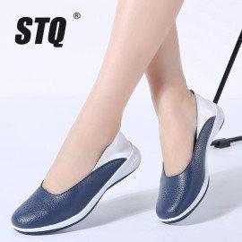 2019 Spring Women Leather Loafers Cutout Ballet Flats Shoes Female Flat Nursing Shoes Woman Slip On Loafers Slipony 7699 Stq/hoodmat.com