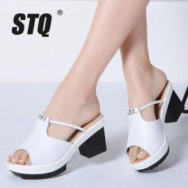 2019 Summer Women Flat Platform Slippers Slides Sandals Shoes Slip On Open Toe White Genuine Leather High Heel Sandals 878 Stq/hoodmat.com