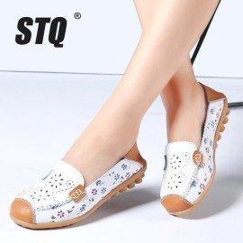 2019 Summer Women Flat Shoes Genuine Leather Ballet Flats Shoes Cutout Flats Ladies Slip On Loafers Nurse Boat Shoes 3569 Stq/hoodmat.com
