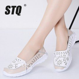 2019 Spring Women Flats Genuine Leather Shoes Slip On Ballet Flats Ballerines Flats Woman Moccasins Flat Loafers Shoes 7737 Stq/hoodmat.com