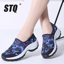 2019 Spring Women Flat Platform Shoes Women Breathable Mesh Casual Sneakers Shoes Ladies Slip On Sneakers Shoes 1853 Stq/hoodmat.com