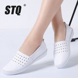 2019 Summer Women Flats Genuine Leather Ballet Flats Shoes Ladies Cutout Slip On Tenis Feminino Loafers Slipony Shoes B17 Stq/hoodmat.com
