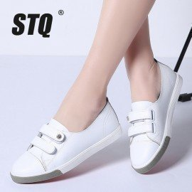 2019 Spring Women Flats Ladies Slip On Ballet Flats Loafers Leather Shoes Women Casual Boat Shoes Ladies White Sneakers Stq/hoodmat.com