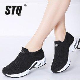 2019 Spring Women Platform Sneakers Shoes Flat Slip On Walking Shoes Women Black Breathable Mesh Sock Sneakers Shoes 1858 Stq/hoodmat.com