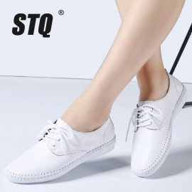 2019 Spring Women Ballet Flats Oxford Flat Shoes Soft Leather Shoes Ladies Lace Up White Black Loafers Flats Boat Shoes B16 Stq/hoodmat.com