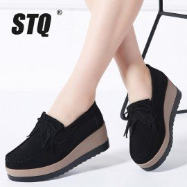 2019 Spring Women Flats Women Leather Suede Fringe Platform Sneakers Thick Heel Casual Boat Shoes Ladies Loafers Shoes 912 Stq/hoodmat.com