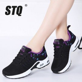 2019 Spring Women Flat Platform Sneakers For Women Breathable Mesh Black Sneakers Shoes Ladies Laces Walking Shoes 1859 Stq/hoodmat.com