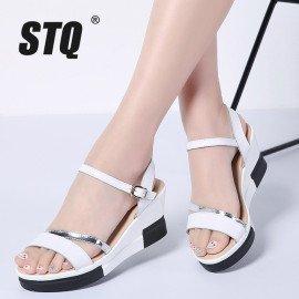 2019 Summer Women Flat Sandals Shoes Women Wedges Platform Sandalias Buckle Sandals High Heels Strap Sandals Xj609 Stq/hoodmat.com