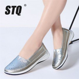 2019 Spring Women Ballet Flats Leather Loafers Cutout Sliver White Black Walking Shoes Woman Slip On Loafers Boat Shoes 7685 Stq/hoodmat.com