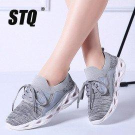 2019 Spring Women Flat Sneakers Ladies Flats Lace Up Sneakers Shoes Women Breathable Mesh Sneakers Slip On Walking Shoes 318 Stq/hoodmat.com