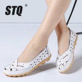 2019 Summer Women Ballet Flats Genuine Leather Loafers Shoes Slip On Flat Heel Shoes Ladies Loafers Ballerina Flats 1165 Stq/hoodmat.com