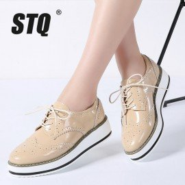 2019 Spring Women Flat Shoes Platform Sneakers Brogue Lace Up Heels Flat Shoes Women Leather Flats Casual Creepers Shoes 366 Stq/hoodmat.com