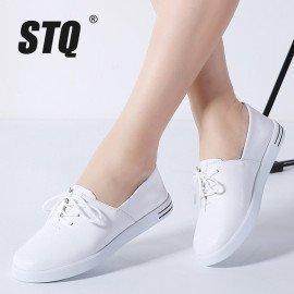 2019 Spring Women Flats Shoes Women Lace Up White Flat Loafers Shoes Ladies Ballet Flats Female Oxfords Shoes Boat Shoes 695 Stq/hoodmat.com