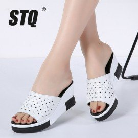 2019 Summer Slippers Women Platform Sandals Shoes Women Slides Sandals Beach Platform Slip-On Round Toe White Flip Flops Z33 Stq/hoodmat.com