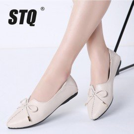 2019 Spring Women Ballet Flat Heel Shoes Genuine Leather Slip On Bowknot Woman Shoes Moccasins Loafers Work Shoes 1190 Stq/hoodmat.com