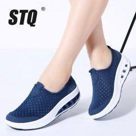 2019 Spring Women Sneakers Shoes Flat Platform Shoes Women Breathable Mesh Casual Shoes Slip On Platform Creepers Shoes 7690 Stq/hoodmat.com