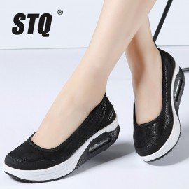 2019 Spring Women Flats Platform Shoes Women Breathable Mesh Casual Shoes Sneakers Ladies Slip On Boat Shoes Moccasins 7667 Stq/hoodmat.com
