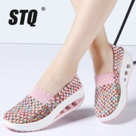 2019 Spring Women Casual Shoes Women Wove Platform Shoes Ladies Fashion Slip On Sneakers Shoes Breathable Walking Shoes 1668 Stq/hoodmat.com