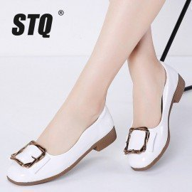 2019 Spring Women Flats Shoes Pu Leather Slip On Ballet Flats Women White Ballerina Ladies Shoes Loafers Flat Shoes G15 Stq/hoodmat.com