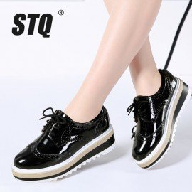 2019 Spring Women Platform Oxfords Shoes Brogue Lace Up Genuine Leather Shoes Ladies Thick Soled Shoes For Women Flats 3308 Stq/hoodmat.com