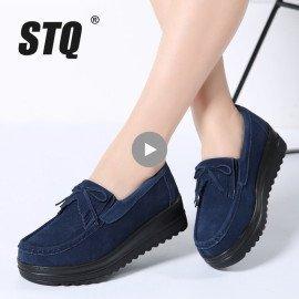 2019 Spring Women Flats Women Leather Suede Fringe Platform Sneakers Thick Sole Casue Boat Shoes Ladies Oxfords Shoes 826 Stq/hoodmat.com