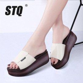 2019 Summer Women Slippers Genuine Leather Open Toe Middle Heel Shoes Women Wedges Slippers Black White Slides Sandals S77 Stq/hoodmat.com