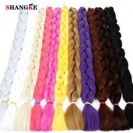 82&Quot; 165G/Pack Synthetic Kanekalon Braiding Hair Extensions Jumbo Braids Hairstyle Blue Pink Green  Shangke/hoodmat.com