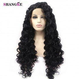 Fashion Long Curly Synthetic Hair Lace Front Wigs High Temperature Fiber Cosplay Wig For Black Women  Shangke/hoodmat.com