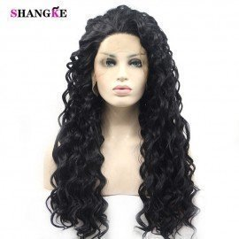 Black Cosplay Wig 26 Inch Long Natural Curly  Heat Resistant Synthetic Cosplay Wig Lace Wigs For Black Women Shangke/hoodmat.com