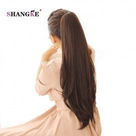 24 Long Straight Ponytail Claw Drawstring Ponytail Synthetic Heat Resistant Clip In Hair Extensions  Shangke/hoodmat.com