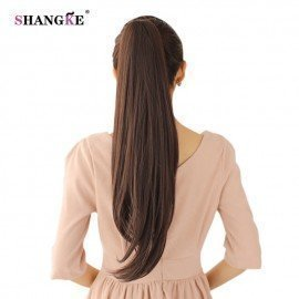 24 Long Straight Ponytails Clip In Ponytail Heat Resistant Clip In Hair Extensions Hair Tail Fake Hairpieces Shangke/hoodmat.com