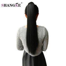 24 Long Black Synthetic Ponytail Long Hair Natural Fake Hair Tail Hairpieces Women Hairstyles Heat Resistant Fake Hair Shangke/hoodmat.com