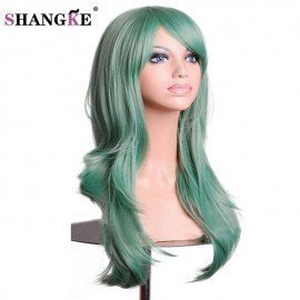 28 Long Wavy Synthetic Cosplay Wigs For  Women Red Hair Heat Resistant Fake Hair Wigs Green For Party Costume Shangke/hoodmat.com