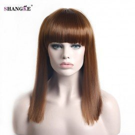 Bob Style Short Straight Hair 8 Colors Brown Blue Black Synthetic Hair High Temperature Fiber Cosplay Wig For Women Shangke/hoodmat.com