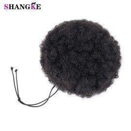 Afro Ponytail Drawstring Synthetic Chignon Hair Afro Buns Afro Kinky Curly Chignon Kanekalon Fiber Afro Fake Hair Extensions Shangke/hoodmat.com
