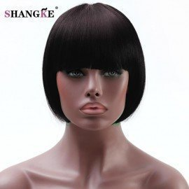 Bob Wig For African Americans Women Short Synthetic Wigs For  Women Natural Heat Resistant Fake Hairpieces  Shangke/hoodmat.com