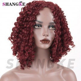 Afro Kinky Curly Wig Synthetic Wigs For Women Black Natural Afro Hair Shangke/hoodmat.com