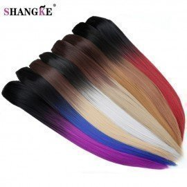 24&Quot; 150G Long Stright 5 Clip In Hair Extensions Natural Ombre Hairpieces Heat Resistant Synthetic Hair Women Hair Piece Shangke/hoodmat.com