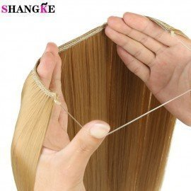 24 Inches Invisible Wire No Clips In Hair Extensions Secret Fish Line Hairpieces Silky Wavy Synthetic Heat Resistant  Shangke/hoodmat.com