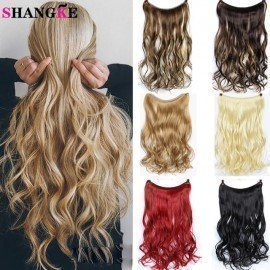 24Inch Blonde Synthetic Hair Heat Resistant Hairpieces Fish Line Invisible Wavy Wire Hair Extension Shangke/hoodmat.com