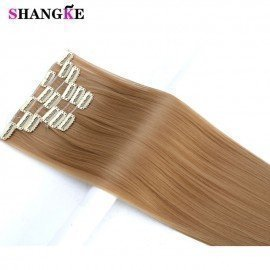 24 Long Straight Hair Extension 6 Pcs/Set 16 Clips In On Hair Extensions High Temperature Fiber Fake Hair Pieces Shangke/hoodmat.com