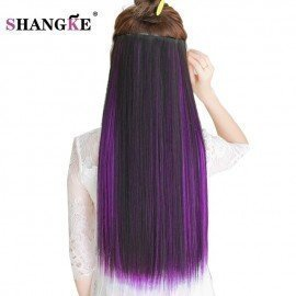 24Long Colored Hair Extension 5 Clip In Hair Extensions Natural Heat Resistant Synthetic Hairpiece 29 Colors Available Shangke/hoodmat.com